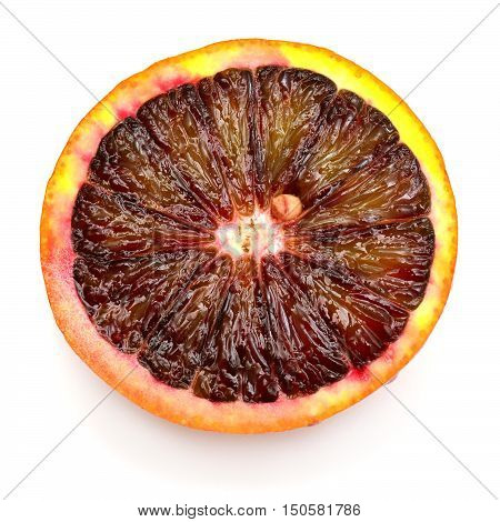 Half of sicilian orange isolated on white background