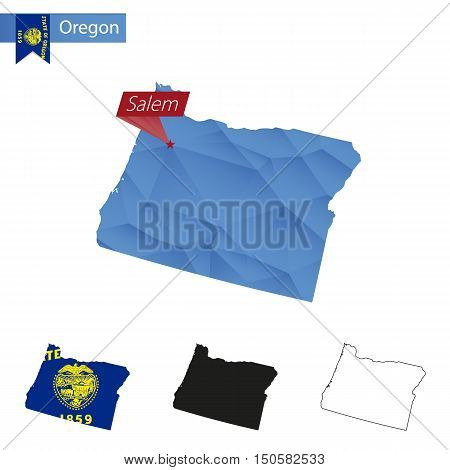 State Of Oregon Blue Low Poly Map With Capital Salem.