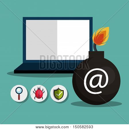 laptop computer and informatic alert security system icon set. colorful design. vector illustration