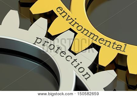 Environmental Protection concept on the gearwheels 3D rendering