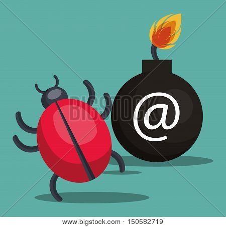 informatic computer virus and alert security system icon. colorful design. vector illustration