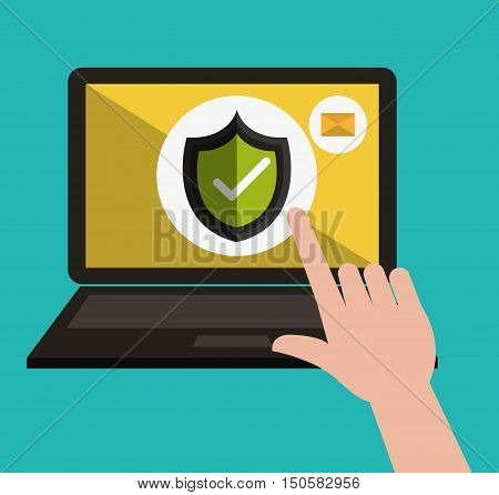 hand finger pointing a check shield in a laptop computer informatic security system. vector illustration