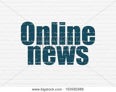News concept: Painted blue text Online News on White Brick wall background