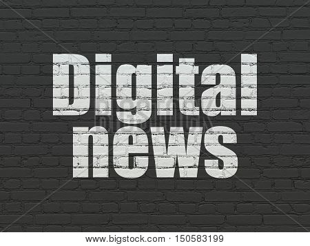 News concept: Painted white text Digital News on Black Brick wall background