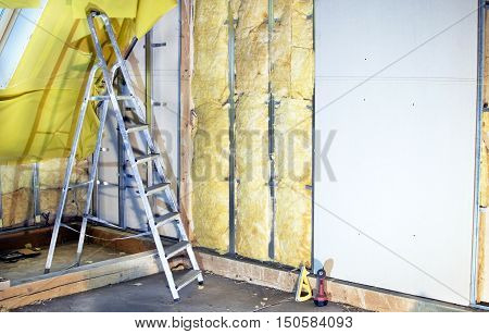 Installation  Walls  With Plasterboard And Mineral Wool