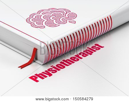 Healthcare concept: closed book with Red Brain icon and text Physiotherapist on floor, white background, 3D rendering
