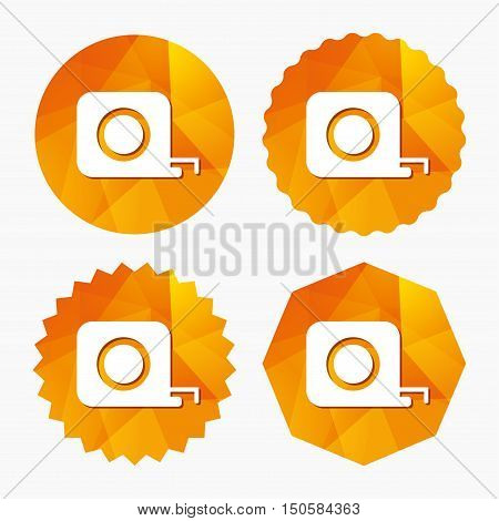 Roulette construction sign icon. Tape measure symbol. Triangular low poly buttons with flat icon. Vector