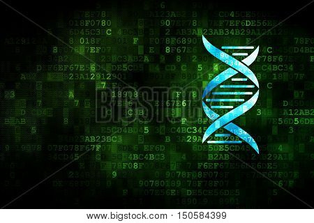 Healthcare concept: pixelated DNA icon on digital background, empty copyspace for card, text, advertising