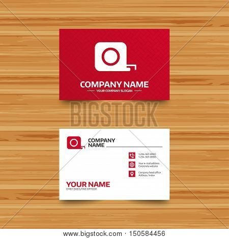 Business card template. Roulette construction sign icon. Tape measure symbol. Phone, globe and pointer icons. Visiting card design. Vector