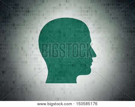 Advertising concept: Painted green Head icon on Digital Data Paper background