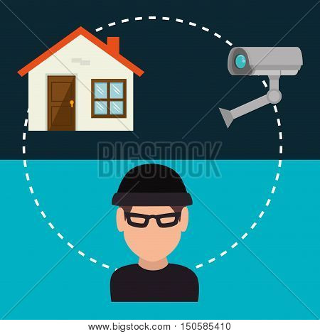 avatar man hacker with house alert security camera system icon set. colorful design. vector illustration