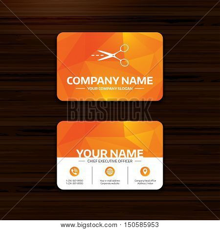 Business or visiting card template. Scissors with cut dash dotted line sign icon. Tailor symbol. Phone, globe and pointer icons. Vector