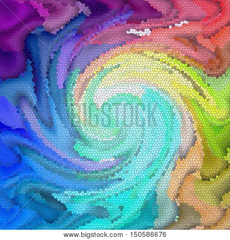 Abstract coloring background of the spectrum gradient with visual lighting,mosaic,stained glass and twirl effects.Good for your project design