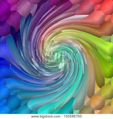 Abstract coloring background of the spectrum gradient with visual lighting,mosaic,pinch,plastic wrap, wave and twirl effects.Good for your project design