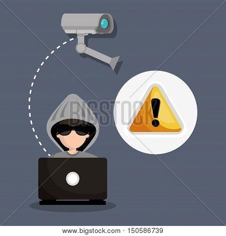 avatar man hacker with virus alert security camera system icon set. colorful design. vector illustration
