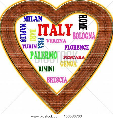 Italy in the Europe and Italy's cities as background, with form of the heart