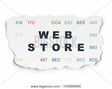Web design concept: Painted black text Web Store on Torn Paper background with  Hexadecimal Code