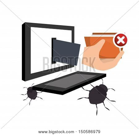 monitor computer with informatic virus and alert security system icon set. colorful design. vector illustration