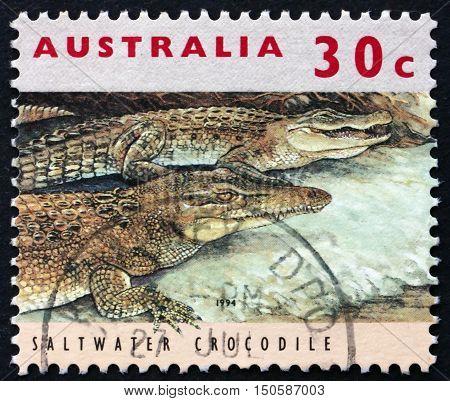 AUSTRALIA - CIRCA 1994: a stamp printed in Australia shows Saltwater Crocodile Crocodylus Porosus Threatened Species circa 1994
