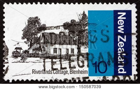 NEW ZEALAND - CIRCA 1979: a stamp printed in New Zealand shows Riverlands Cottage Blenheim Early NZ Architecture circa 1979