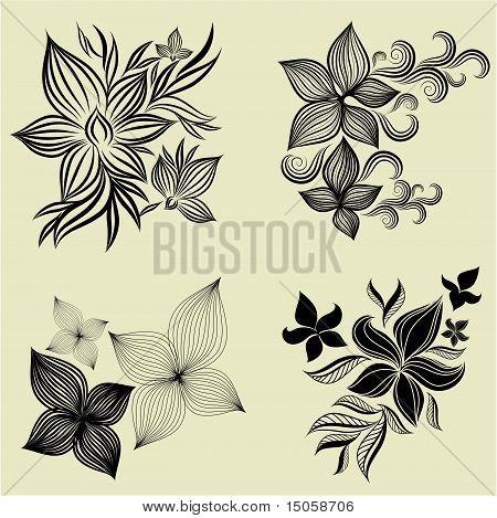 Vector set of flower design elements