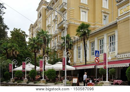 Opatija Croatia - September 15 2016: main street. The town on the Istrian peninsula located on the Gulf of Kvarner. In the late eighteenth century known spa town. In the nineteenth century and early twentieth century the capital of the