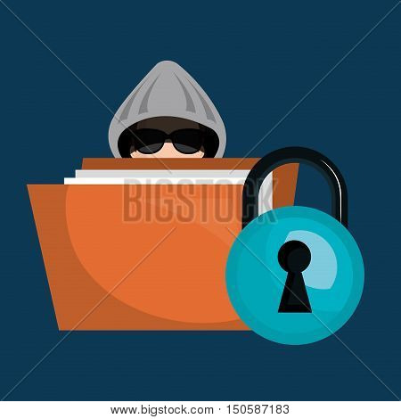 binder and avatar man hacker and documents security system design. vector illustration
