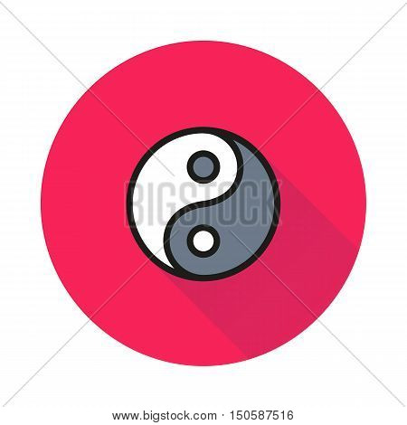 Yin Yang icon on round background Created For Mobile Web Decor Print Products Applications. Icon isolated. Vector illustration