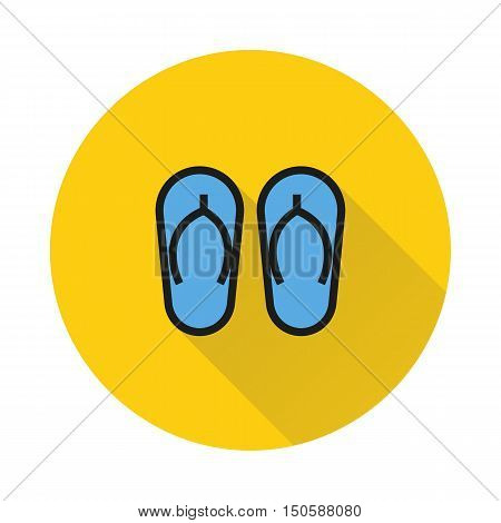 summer sandal icon on round background Created For Mobile Web Decor Print Products Applications. Icon isolated. Vector illustration