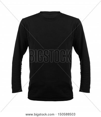 Black t-shirt with long sleeves isolated on white background