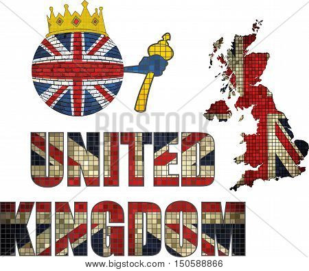 Brick ball with Great Britain flag - Illustration,  Ball with United Kingdom flag and crown,  Font with the British flag in mosaic,  Crown with flag and map of UK