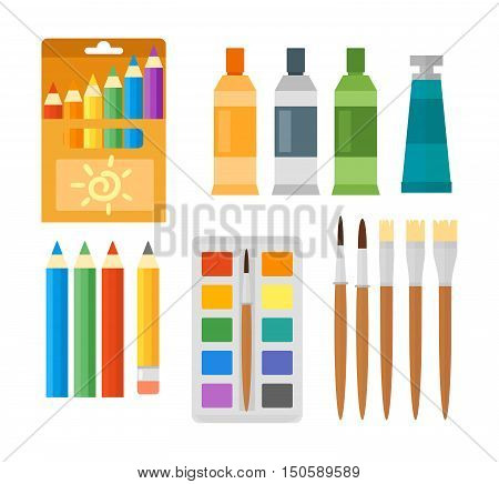 Themed kids creativity creation symbols art poster in flat style vector. Kids creativity creation symbols with artistic objects for children art school. Art fest kids creativity creation symbols.