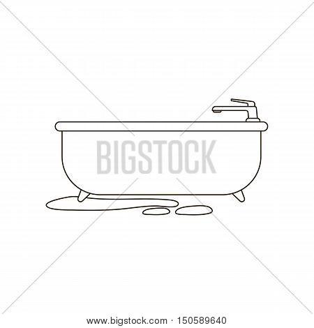 Bath tub icon line. Single silhouette plumbing symbol.