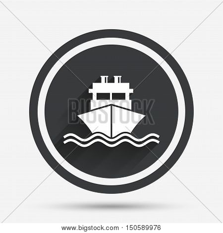 Ship or boat sign icon. Shipping delivery symbol. With chimneys or pipes. Circle flat button with shadow and border. Vector