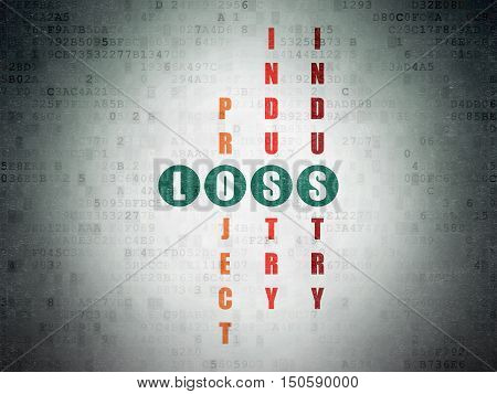 Finance concept: Painted green word Loss in solving Crossword Puzzle on Digital Data Paper background