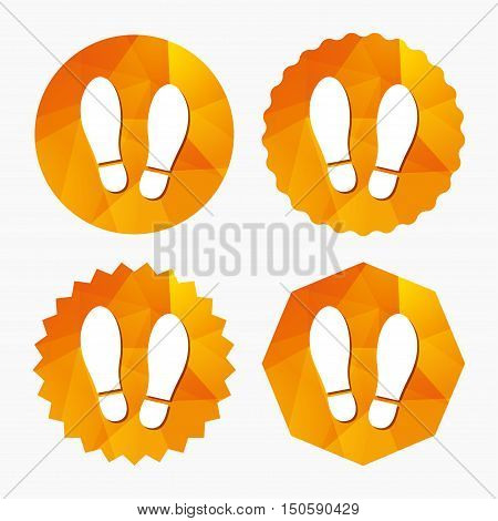Imprint soles shoes sign icon. Shoe print symbol. Triangular low poly buttons with flat icon. Vector