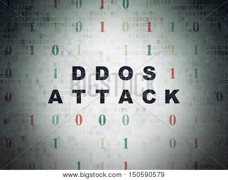 Security concept: Painted black text DDOS Attack on Digital Data Paper background with Binary Code