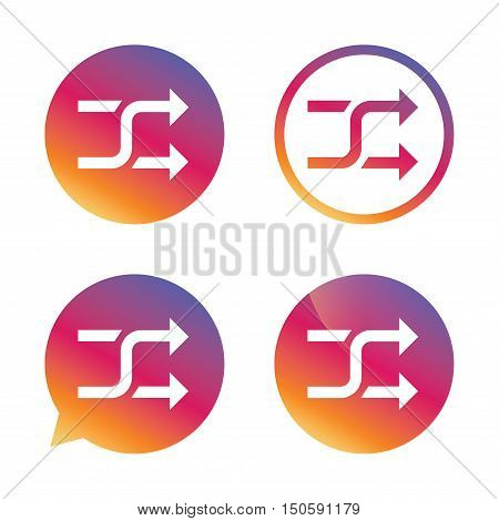 Shuffle sign icon. Random symbol. Gradient buttons with flat icon. Speech bubble sign. Vector