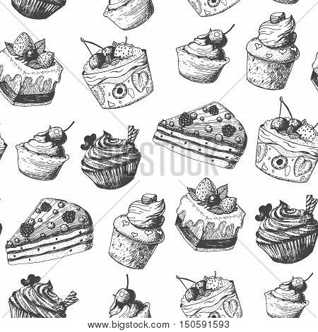 Hand drawn vector illustration - seamless pattern with sweet and dessert. Yummy sweet background. Linear graphic design.