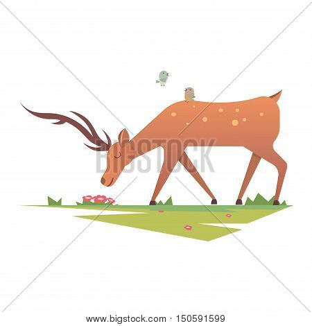 Cute deer cartoon comic wild vector character. Vector wild mammal cartoon deer celebration, humor mascot. Elk antler clip art holiday symbol stag nature cartoon deer forest animal. Christmas deer