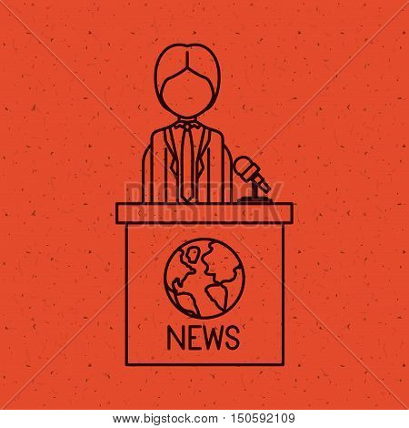 News Presenter man icon. News media communication broadcasting theme. Texture background. Vector illustration