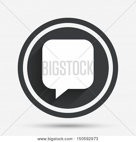 Chat sign icon. Speech bubble symbol. Communication chat bubbles. Circle flat button with shadow and border. Vector
