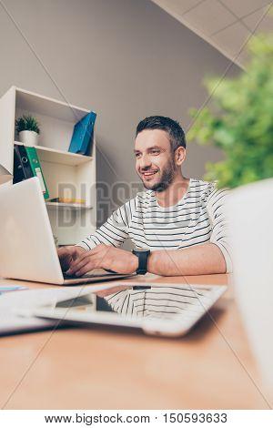 Happy Mature Man Hard Work  In Office