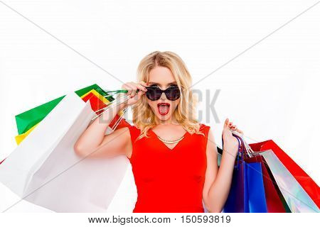 Wow! Pretty Blonde Saw A Discount On Clothes In Shopping Mall