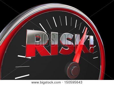 Risk Level Rising Danger Warning Speedometer 3d Illustration
