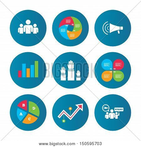Business pie chart. Growth curve. Presentation buttons. Strike group of people icon. Megaphone loudspeaker sign. Election or voting symbol. Hands raised up. Data analysis. Vector