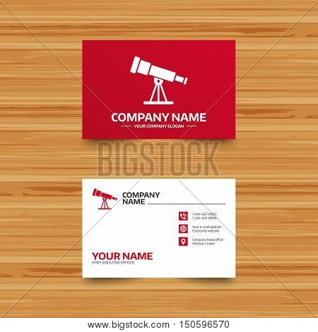 Business card template. Telescope icon. Spyglass tool symbol. Phone, globe and pointer icons. Visiting card design. Vector