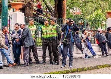 Banos De Agua Santa Ecuador - 23 June 2016: Crowd Population Of Banos De Agua Santa Expecting The President Of Ecuador Rafael Correa To Visit The City Ecuador South America