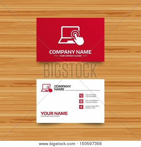 Business card template. Touch screen laptop sign icon. Hand pointer symbol. Phone, globe and pointer icons. Visiting card design. Vector