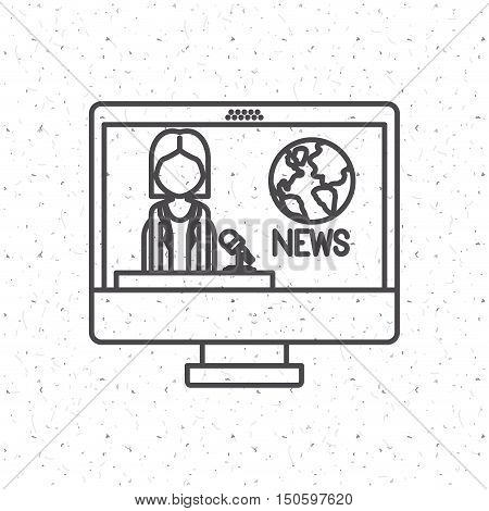 News Presenter woman inside computer icon. News media communication broadcasting theme. Texture background. Vector illustration